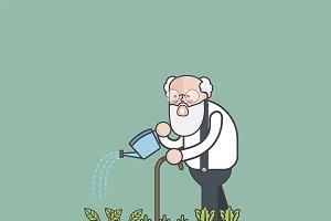 Illustration of man watering plants