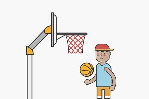 Illustration of boy and basketball