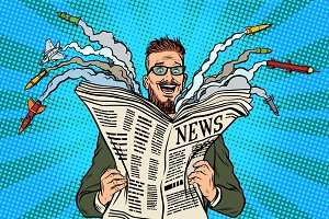 Hipster happy military news paper newspaper