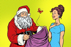 Joyful Santa Claus without gifts and beautiful woman