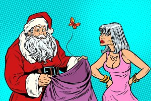 Santa Claus without gifts and angry woman