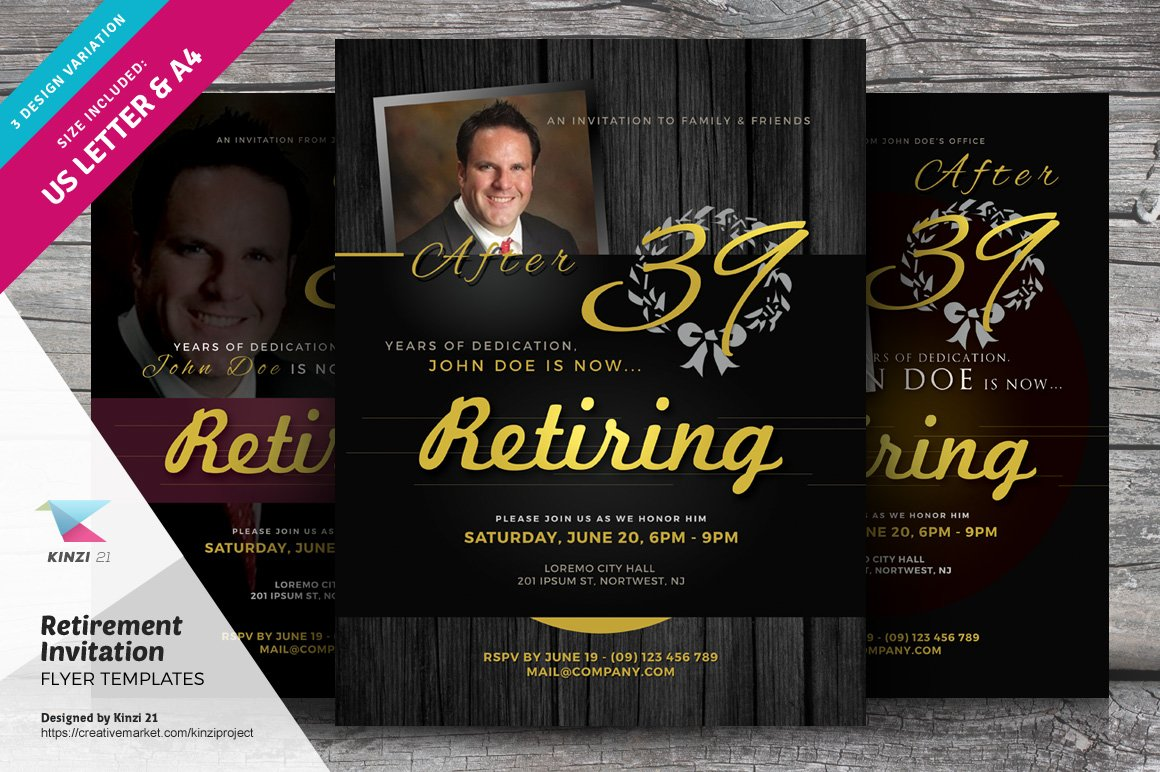 Retirement invitation flyers flyer templates creative for Retirement announcement flyer template
