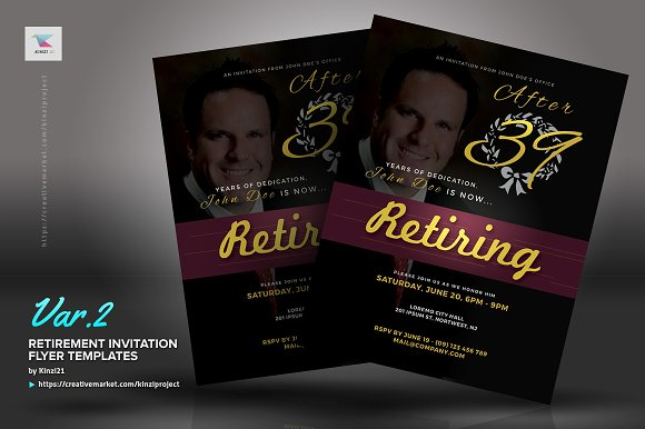 retirement invitation flyers flyer templates creative market