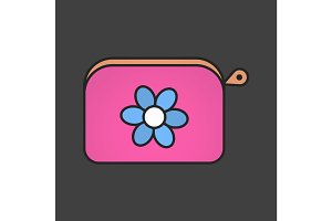 Cosmetic bag color icon