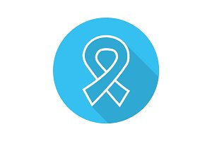AIDS ribbon flat linear long shadow icon