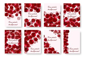 Set of greeting cards with rose petals