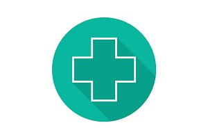 Medical cross flat linear long shadow icon