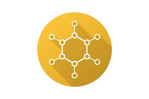 Molecule flat linear long shadow icon