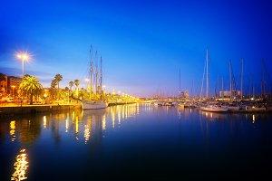 Port Vell and embankment of Barcelona