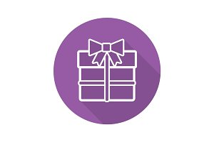 Gift box flat linear long shadow icon