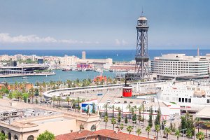 Cityscape of Barcelona with port Vell, Spain