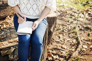 Woman Writing Environmental Park