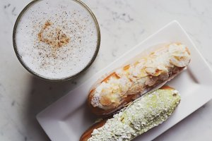 Latte and eclairs