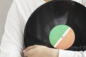 Holding vintage vinyl