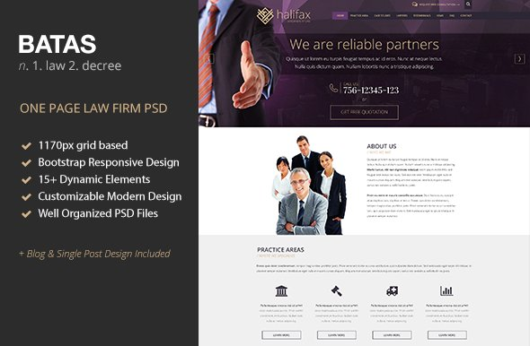 Batas | One Page Law Firm PSD Theme ~ Website Templates ~ Creative ...