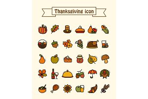 Thanksgiving Day icons set. Harvest