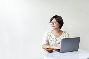 Woman Laptop Browsing Searching