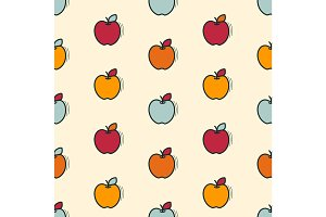 Vector seamless pattern with apples