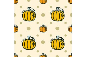 Vector seamless pattern with pumpkin