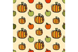 Vector seamless pattern with pumpkin and apples