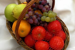 Colored vegetables on basket