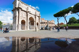 Colosseum and Arch of Constantine, Rome, Italy