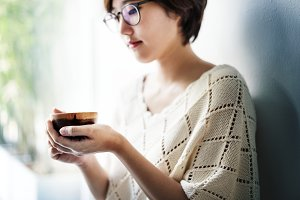 Asian Woman Drinking Tea Relax