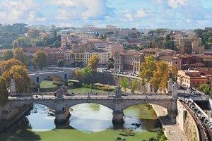 bridge and Tiber river in Rome, Italy