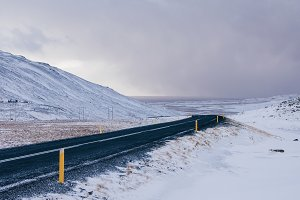 Winter Road over a Mountain