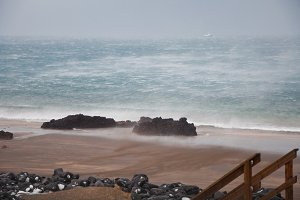 Stormy Winter Beach in Iceland