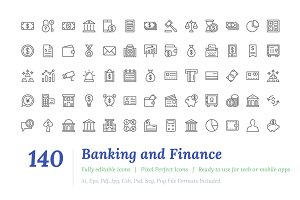 140 Banking and Finance Line Icons