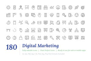 180 Digital Marketing Line Icons