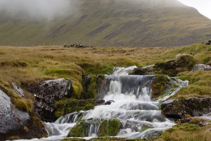 Mountain and Stream in Moody Weather
