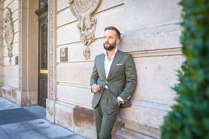 gentleman in a suit oudoor