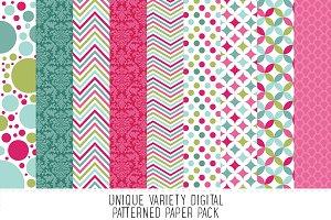 Aqua, Pink & Green Pattern Paper