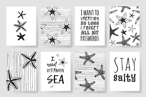 Starfishes set + patterns + cards