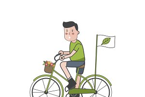 Illustration of man bicycling