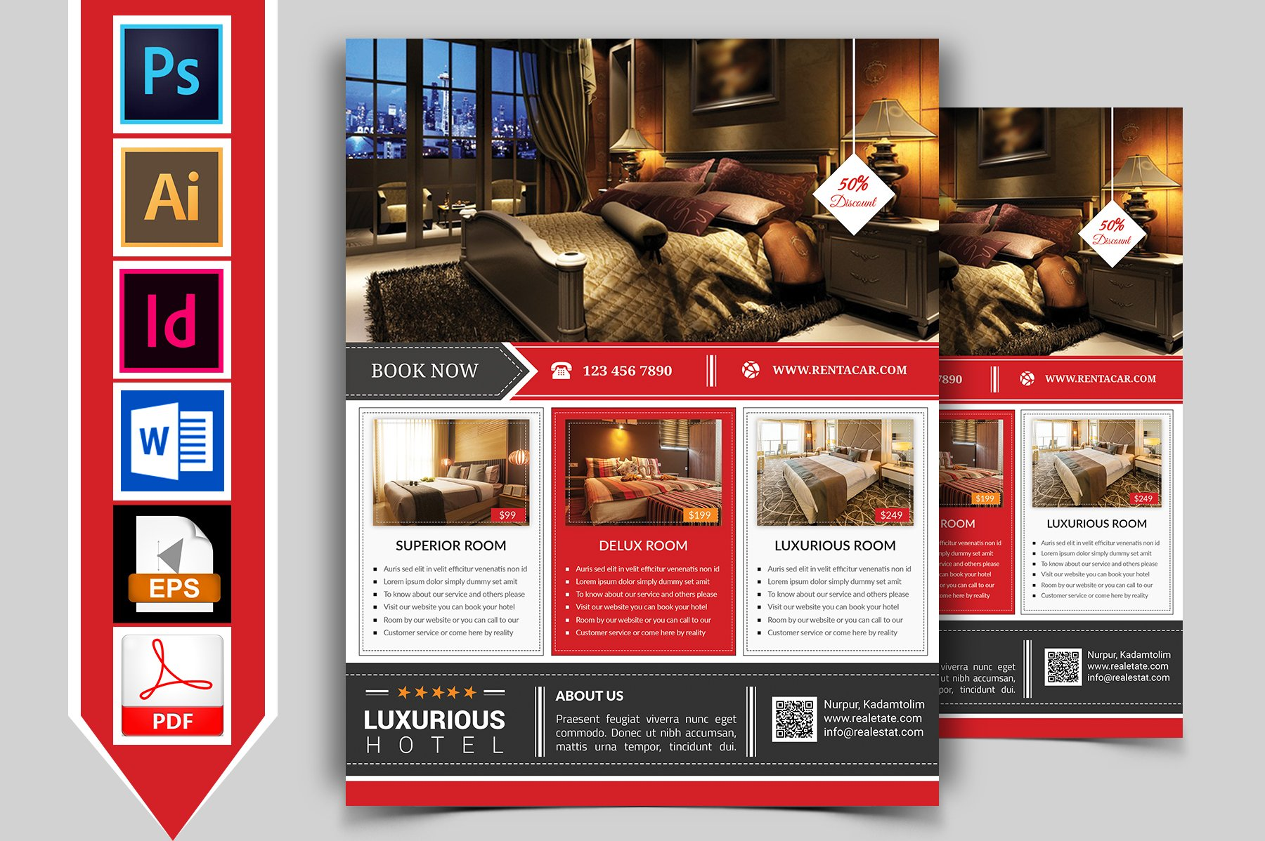 hotel flyer template vol02 flyer templates creative
