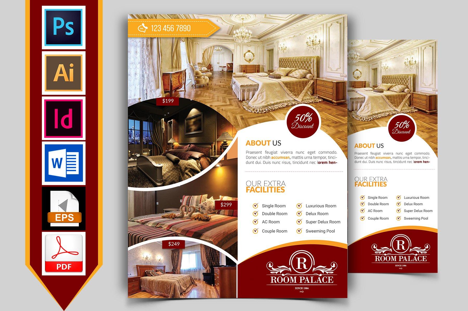 Hotel Flyer Template Vol Flyer Templates Creative Market - Hotel brochure template
