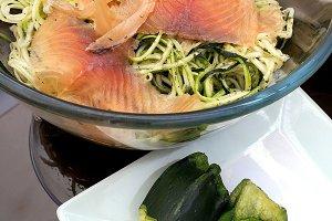 Zucchini spaghetti with salmon