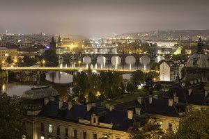 Panoramic view over Prague