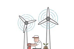 Illustration of man and wind turbine