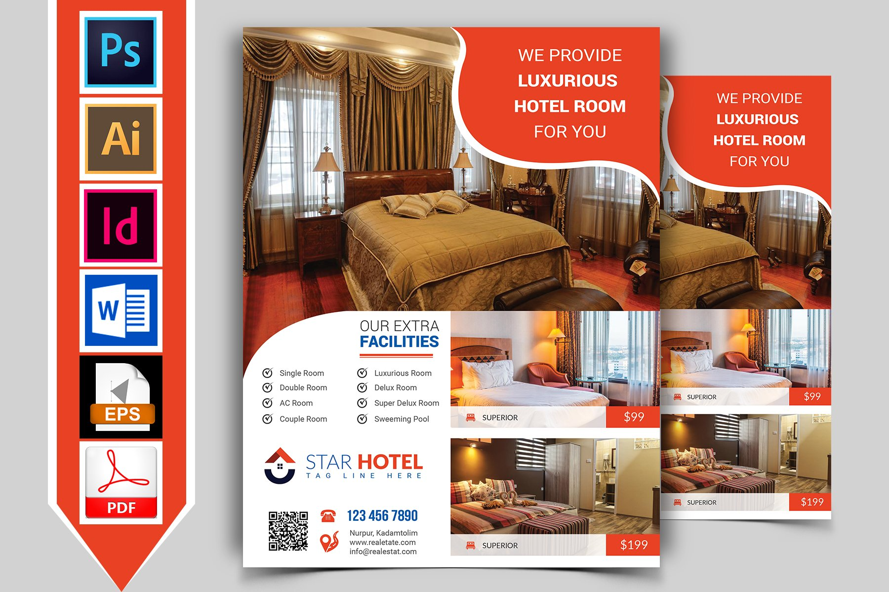 Hotel flyer template vol 06 flyer templates creative for Hotel brochure design templates