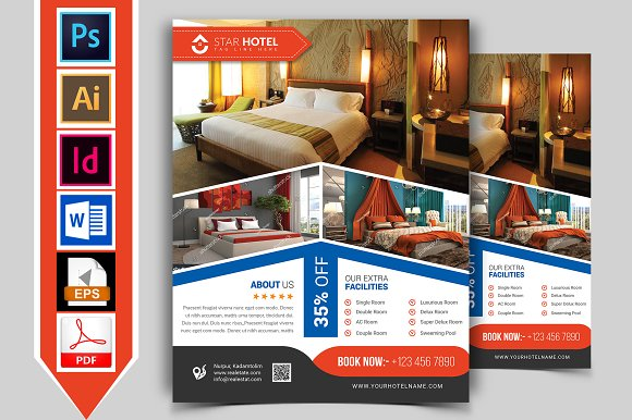 Hotel Flyer Template Vol Flyer Templates Creative Market - Hotel brochure template