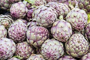 Fresh red artichokes