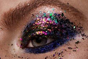 Eye Makeup. Beautiful Eyes Glitter Make-up.