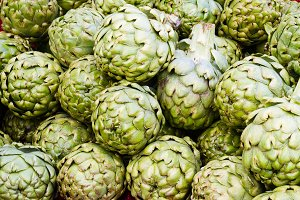 Green artichokes at market