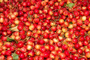 Sweet cherries at market