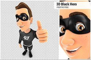 3D Black Hero Positive Pose