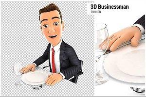 3D Businessman Ready for Dinner